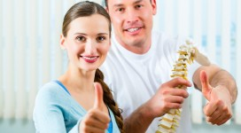 Physiotherapist and patient in a practice after a successfully t